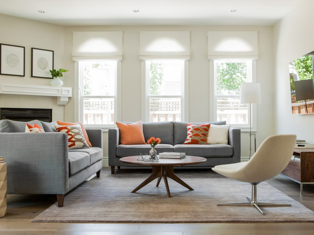 Living Room Living Room Orange And Grey Sofa With White Wooden