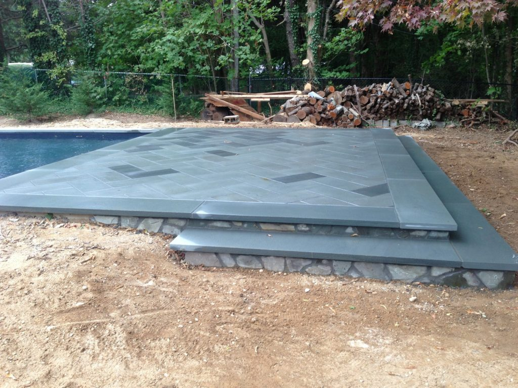 Long Island Pool Bluestone Patio Installation Step Step Mini