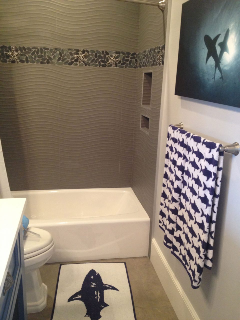 Love The Beach Shower Tile Cool Shark Themed Bathroom Off The