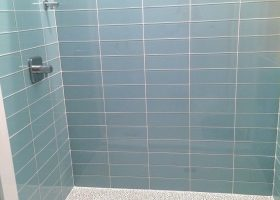 Blue Glass Subway Tile Bathroom