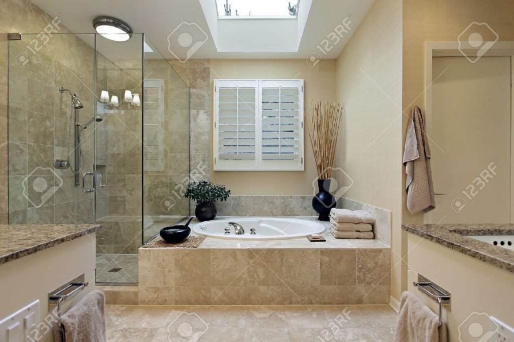 Luxury Master Bath With Skylight Over Bath Tub Stock Photo Picture