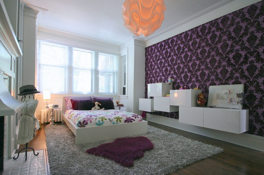 Luxury Teen Bedroom Design Ideas With Full Purple Art Wallpaper