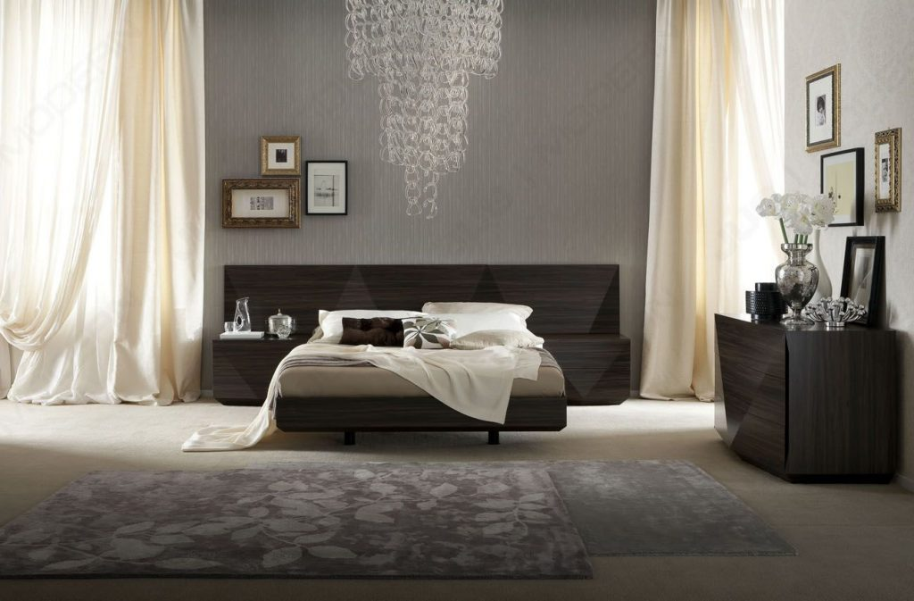 Made In Italy Wood Luxury Bedroom Furniture Sets With Long Headboard