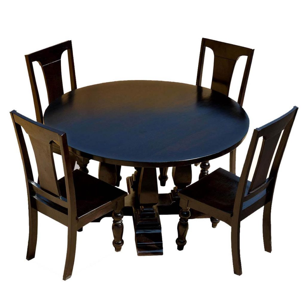 Mango Wood Lincoln Study Black Round Dining Table Chair Set