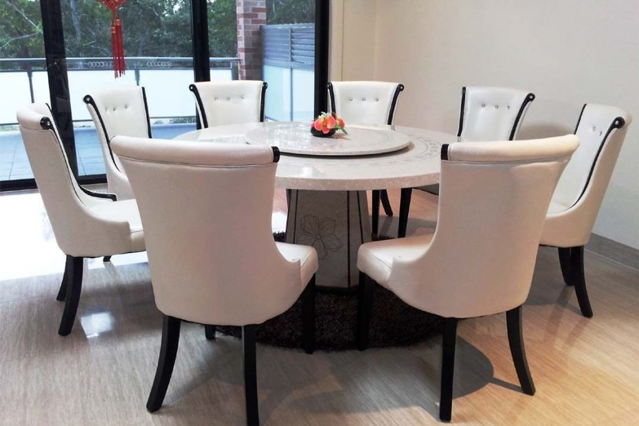 Marble Kitchen Table And A Table That Can Be Rotated Round Dining
