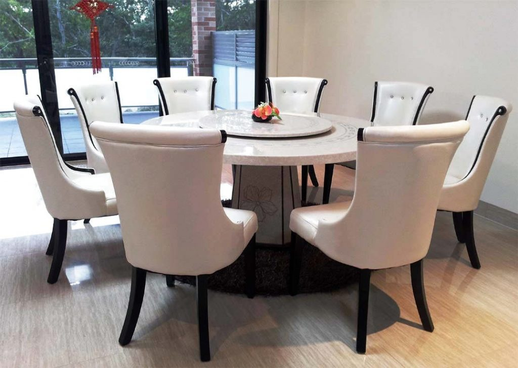 Marble Top Round Dining Table And 8 Chairs With Sliding Calligaris