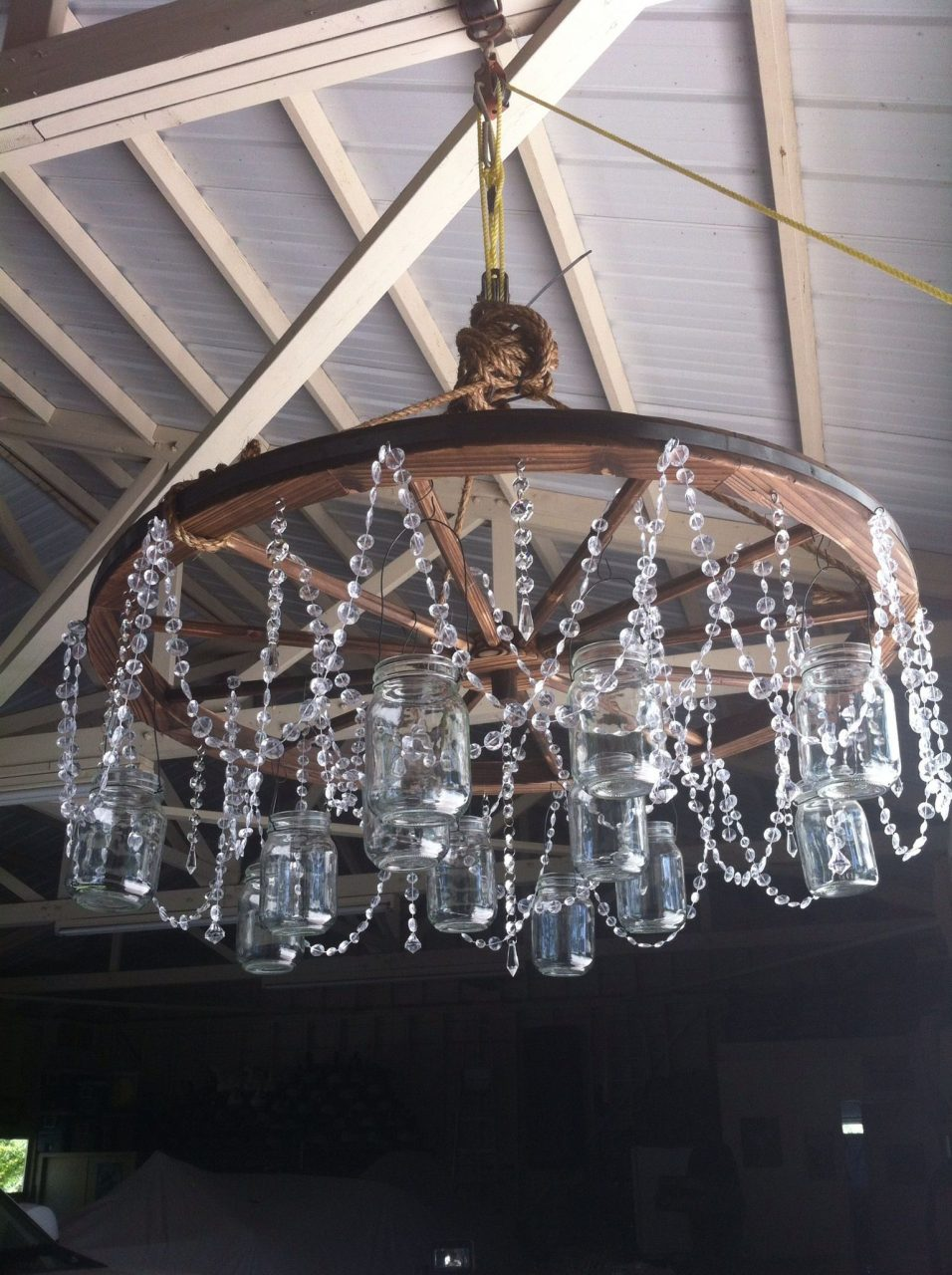Mason Jar And Crystal Wagon Wheel Chandelier B D Wedding Barn