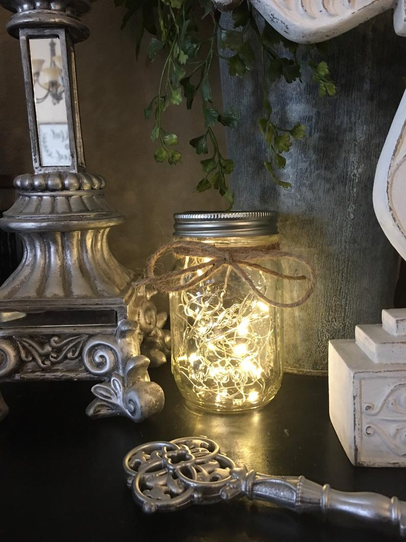 Mason Jar With Fairy Lights Mason Jar Lantern Mason Jars Etsy