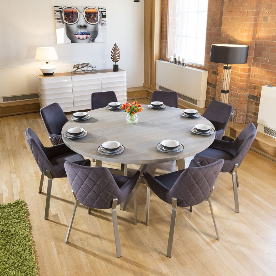 Massive Circular 18m Grey Oak Dining Table 8 Dark Grey Carver