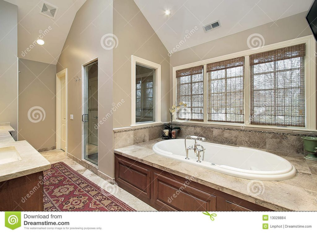 Master Bath With Wood Paneled Tub Stock Photo Image Of Master