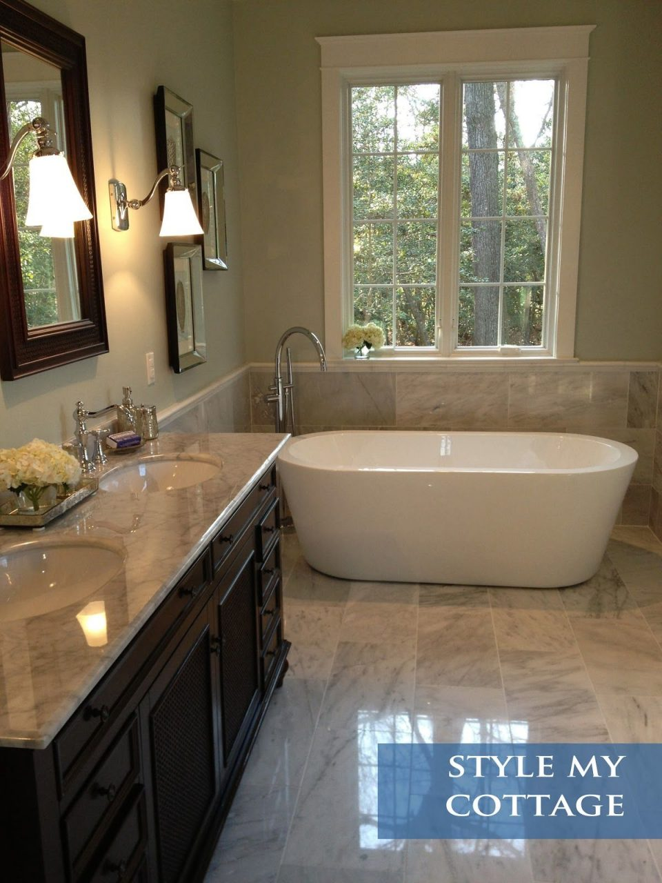 Master Bathroom Light Grey Granite Dark Cabinets And Mirror Light