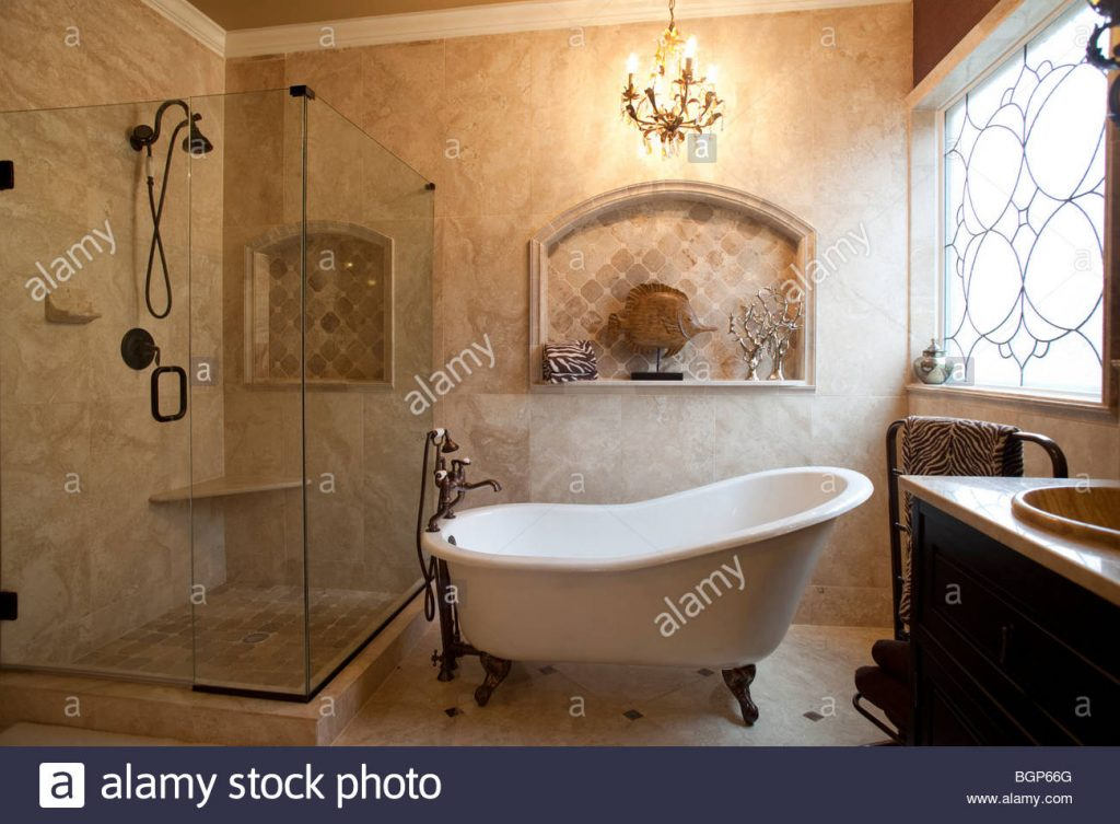 Master Bathroom With Victorian Style Bath Tub Contemporary Shower