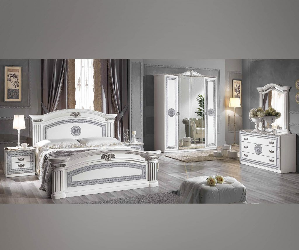 Mcs Alexandra Alexandra White Finish Italian Bedroom Set With 4