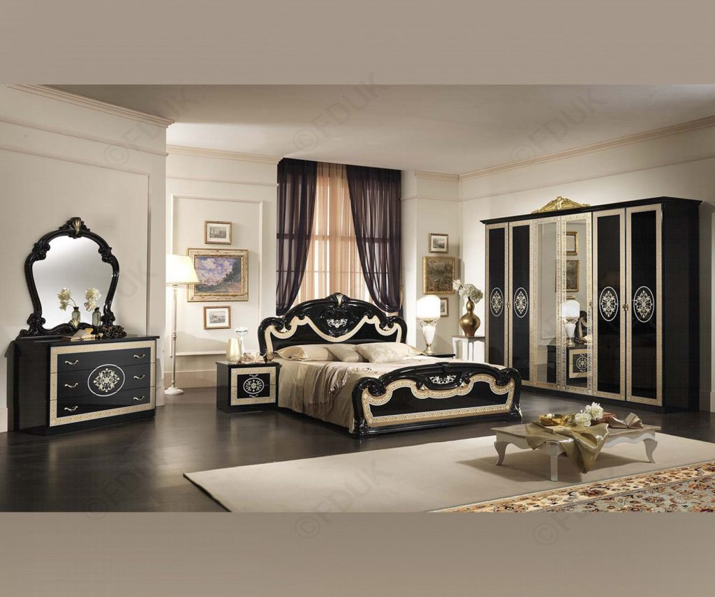 Mcs Natalie Natalie Black Finish Italian Bedroom Set With 6 Door
