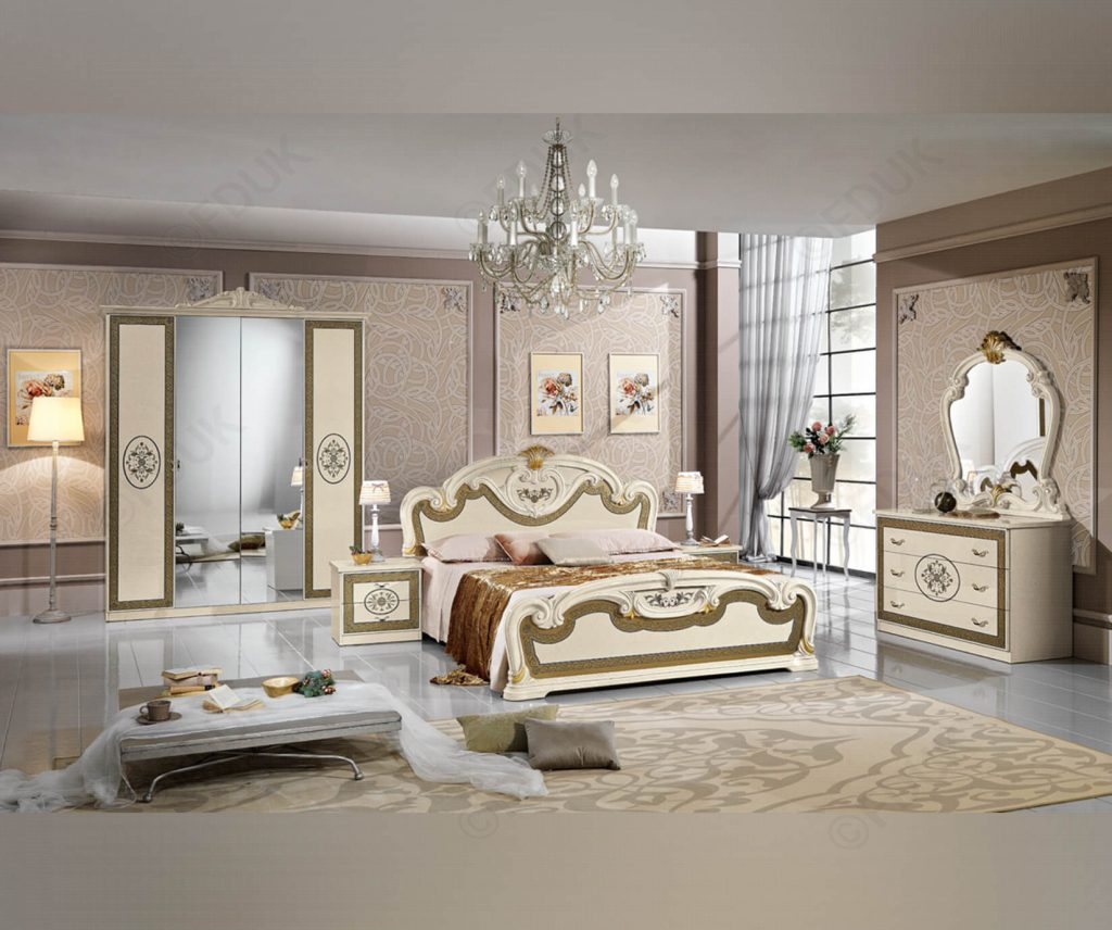 Mcs Natalie Natalie Cream Finish Italian Bedroom Set With 4 Door