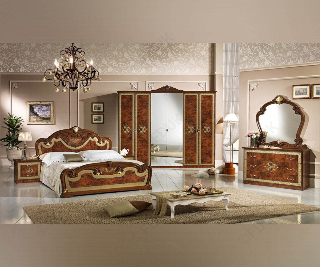 Mcs Natalie Natalie Walnut Finish Italian Bedroom Set With 6 Door
