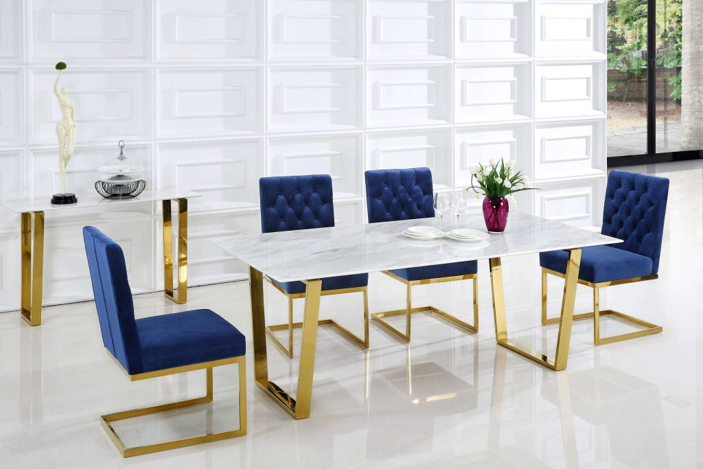 Meridian Cameron Navy Gold Blue 6 Piece Dining Set Reviews