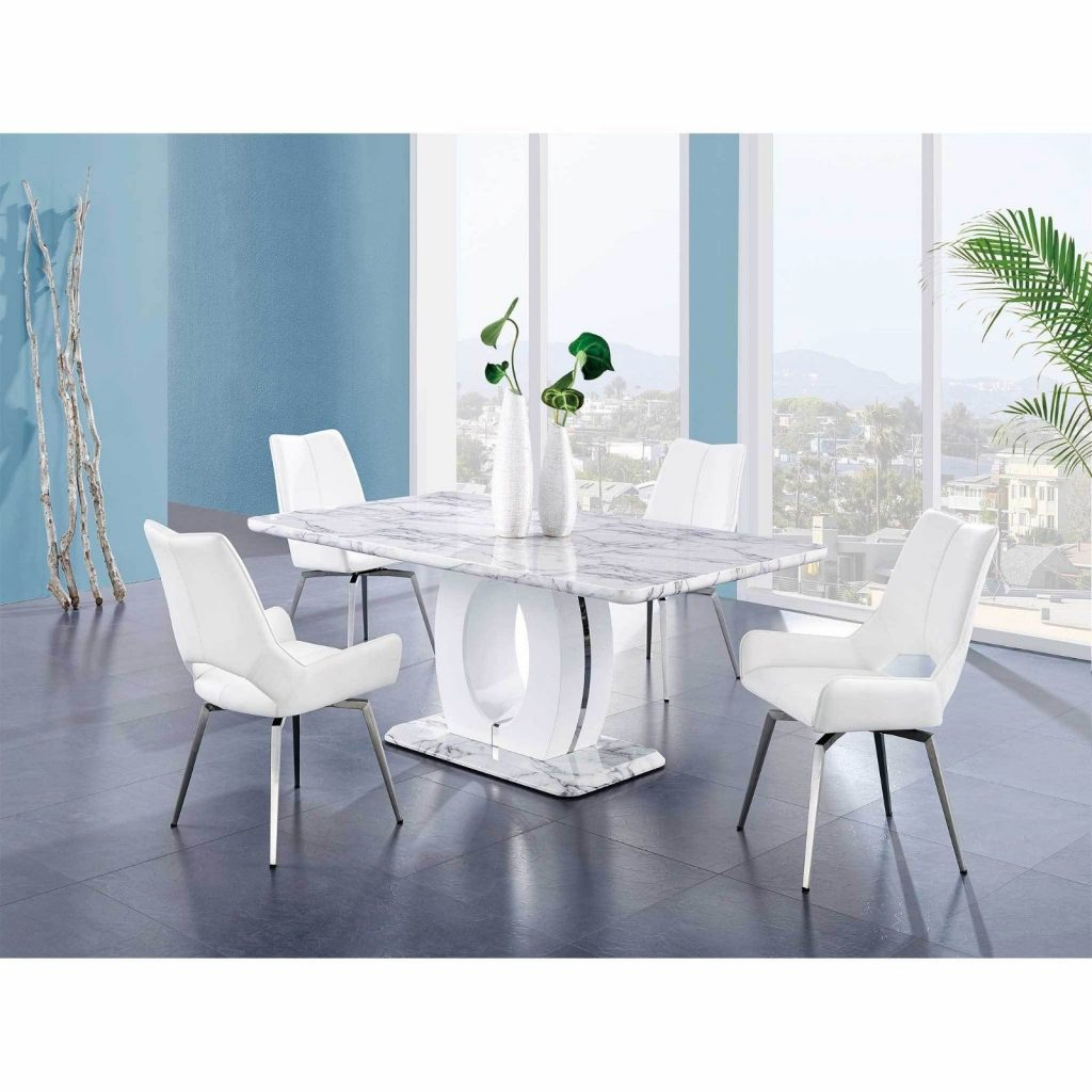 Mfb Dining Table Setwhite Marble Tablewhite Chairs Free Shipping