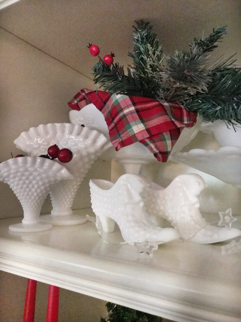 Milk Glass Decorated For Christmas Milkglass Thrift Goodwill