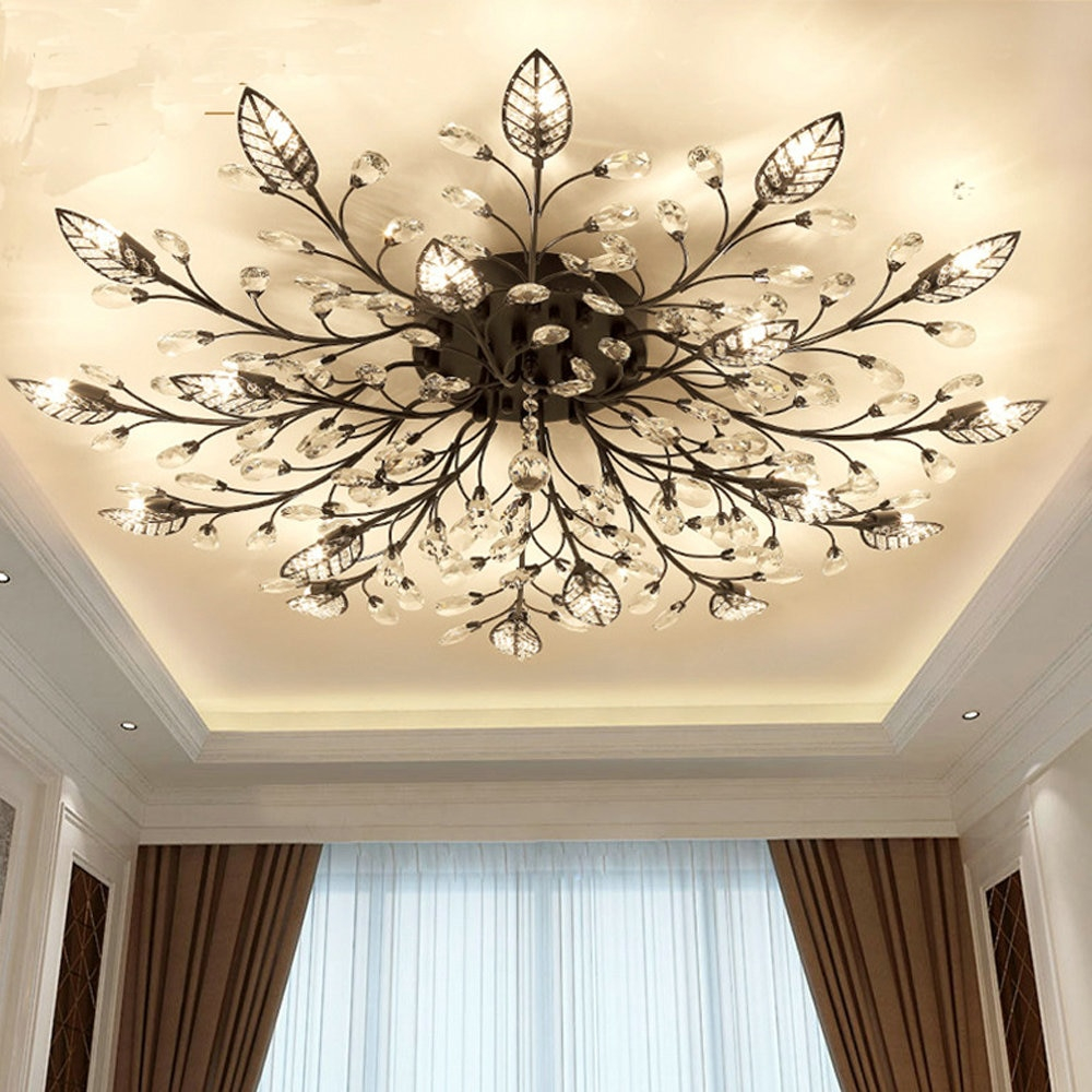 Modern Flush Mount Home Gold Black Led K9 Crystal Ceiling Chandelier