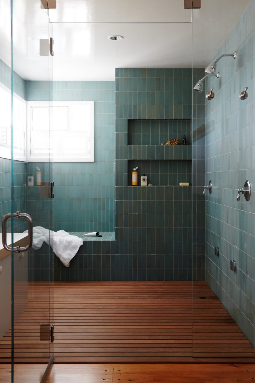 Modern Green Tile And Wood Slat Floor In Large Master Bathroom