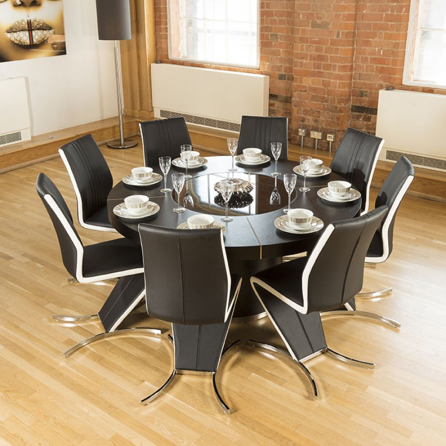Modern Large Round Black Oak Dining Table 8 High Backwhite Z
