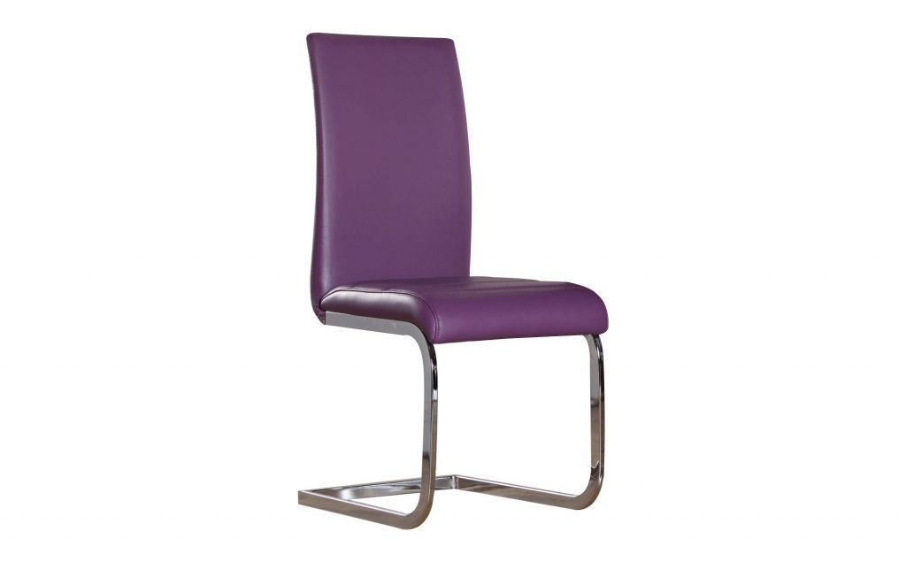 Modern Perth Purple Faux Leather And Chrome Dining Chair Dining