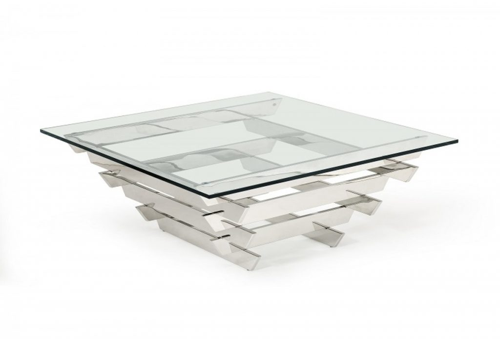 Modrest Upton Modern Square Glass Coffee Table Coffee Tables