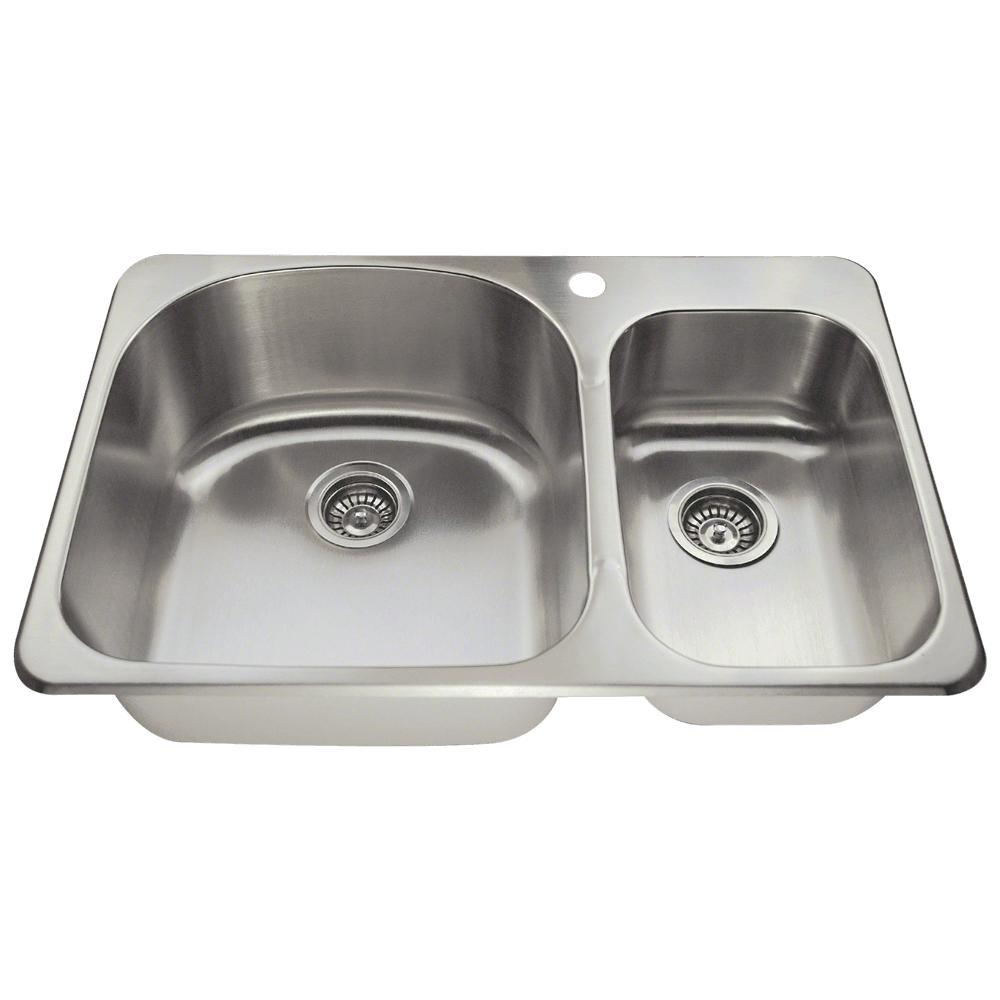 Mr Direct Drop In Stainless Steel 32 In 1 Hole Double Bowl Kitchen Sink