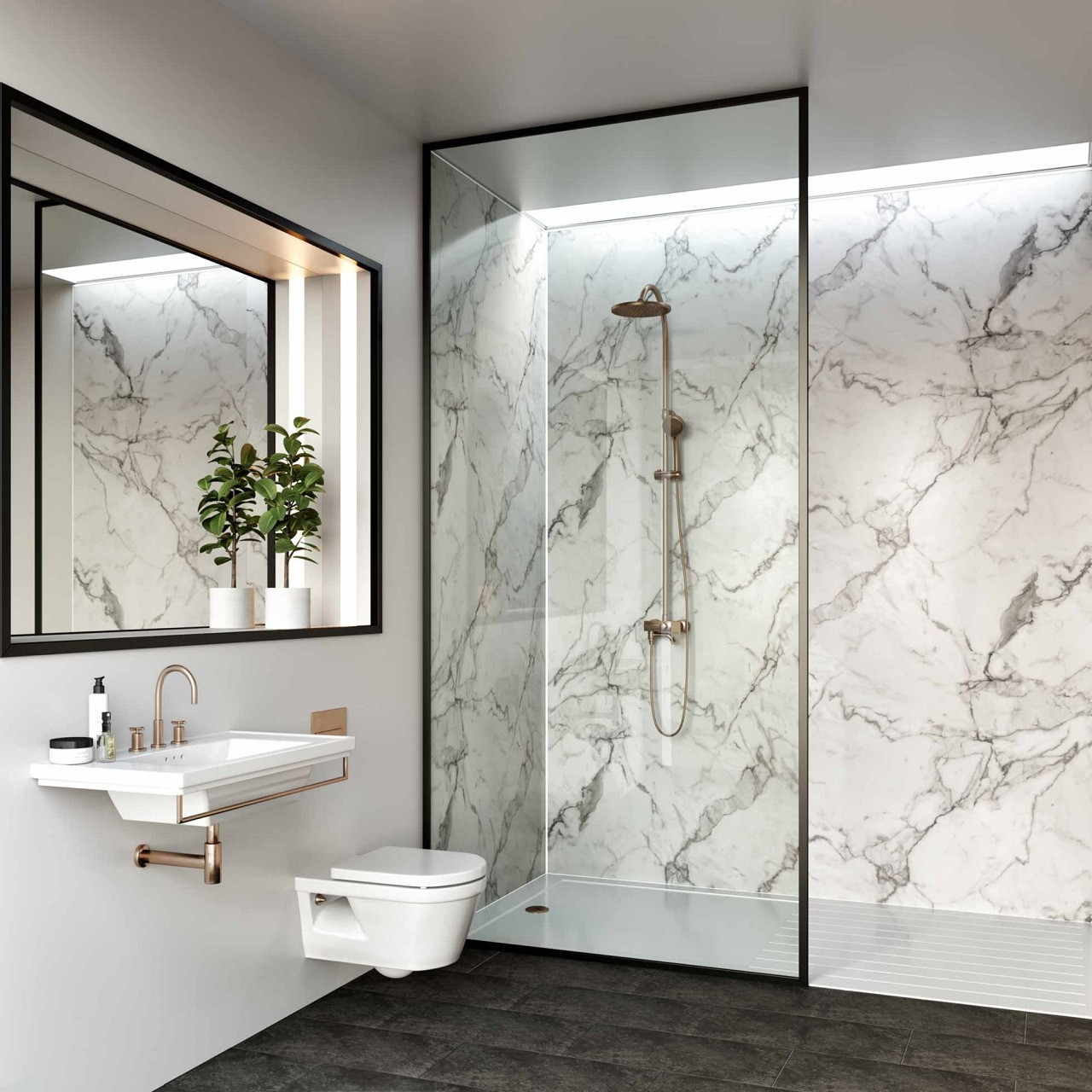 Multipanel Linda Barker Calacatta Marble Unlipped Bathroom Wall Panel
