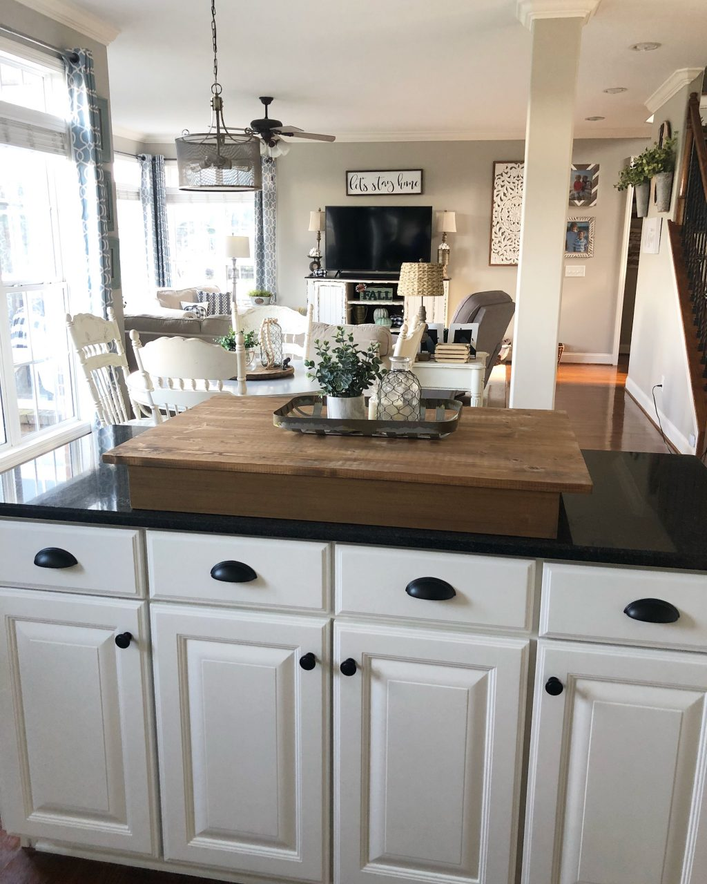 My Kitchen Cabinet Makeover Painted White Island With Black Cup