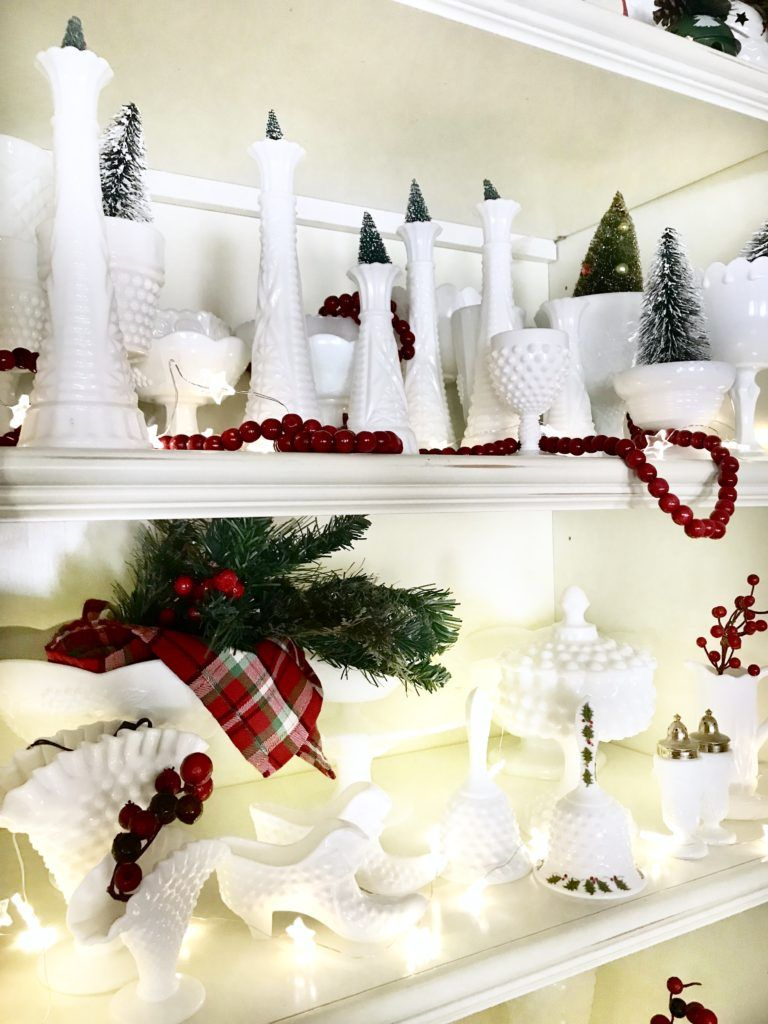 My Milk Glass Collection Decorated For Christmas Milkglass Thrift