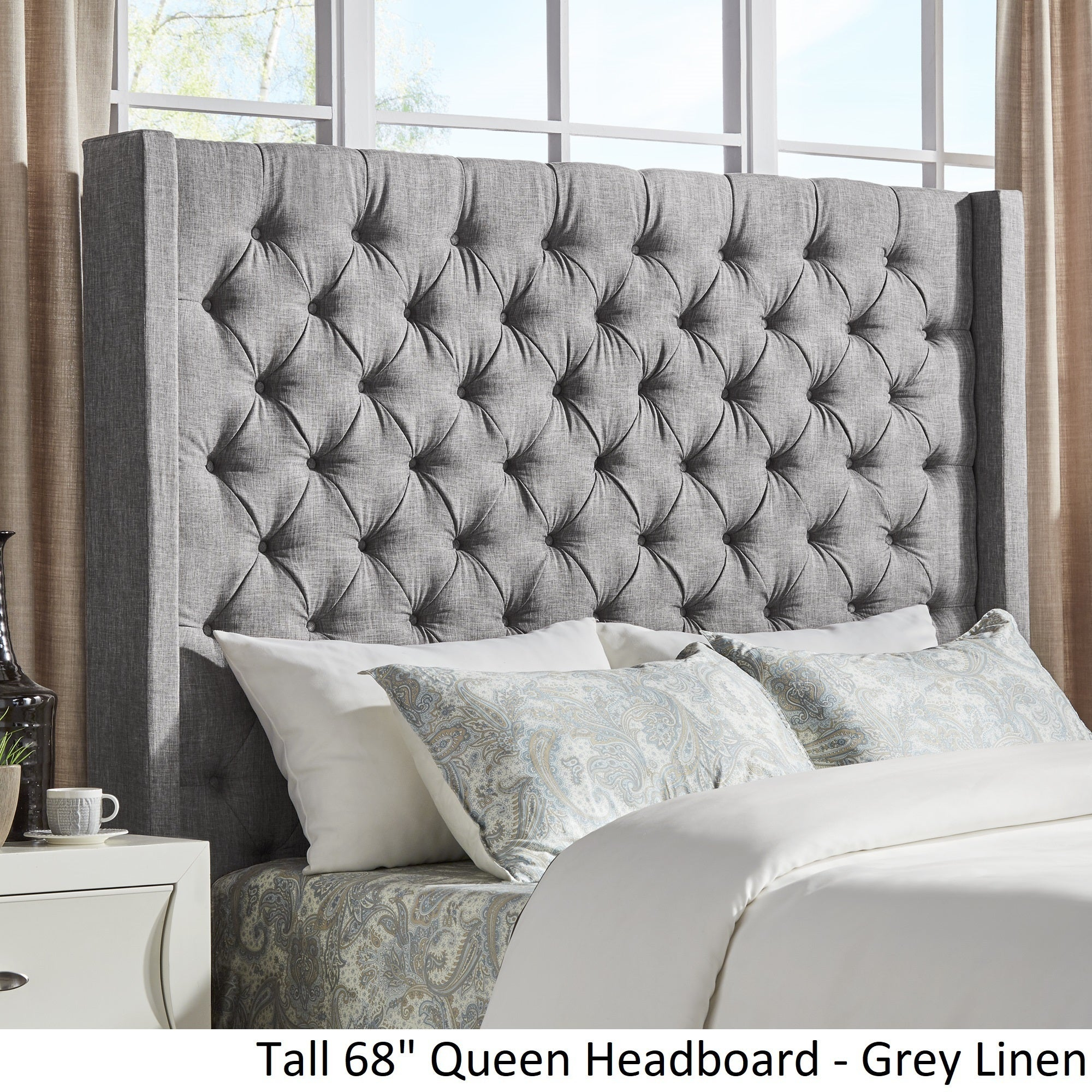 Naples Wingback Button Tufted Tall Headboards Inspire Q Artisan
