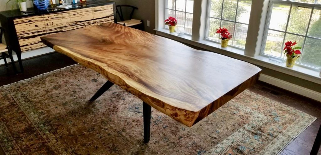 Natural Live Edge Wood Slab Dining Table With Mantis Metal Etsy