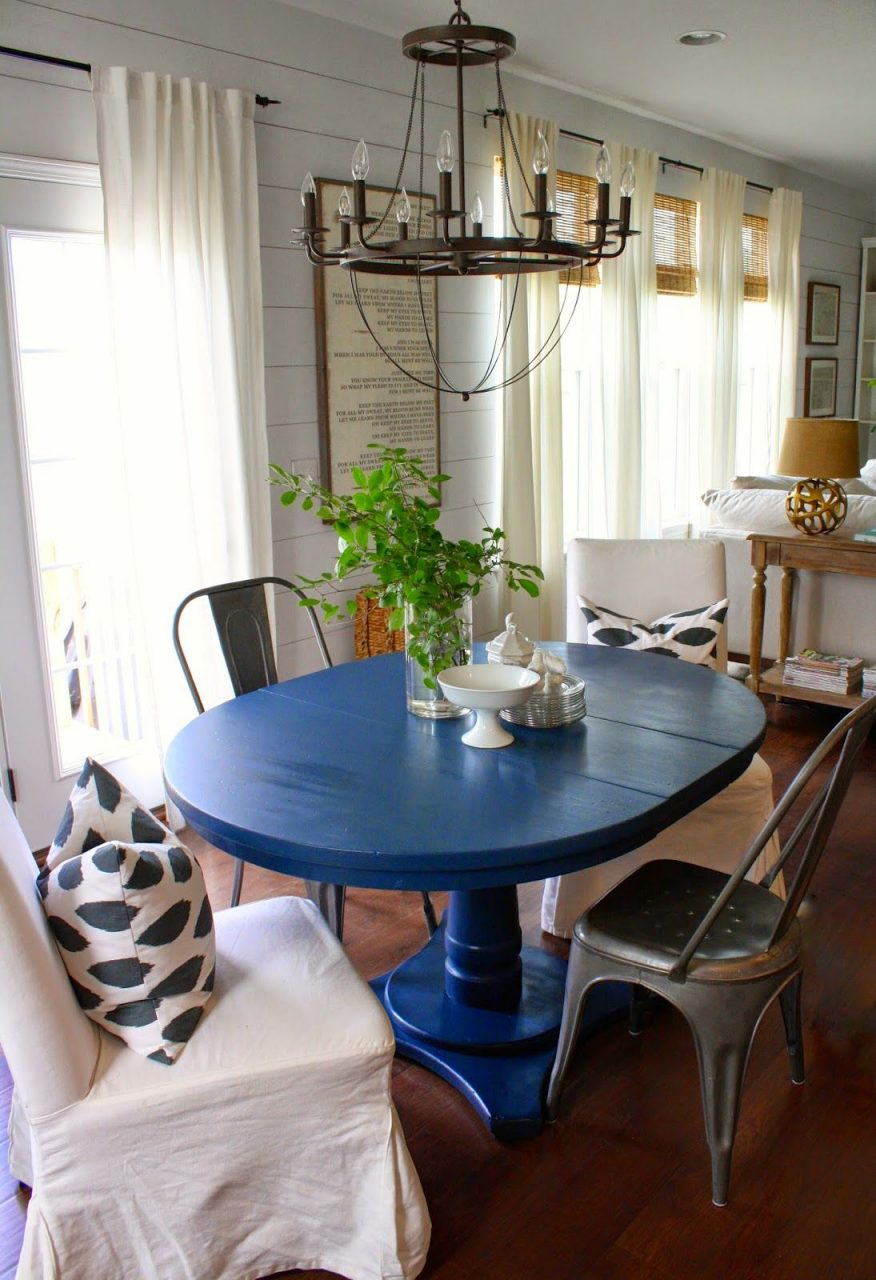 Navy Blue Dining Table Love Decor In 2019 Blue Kitchen Tables