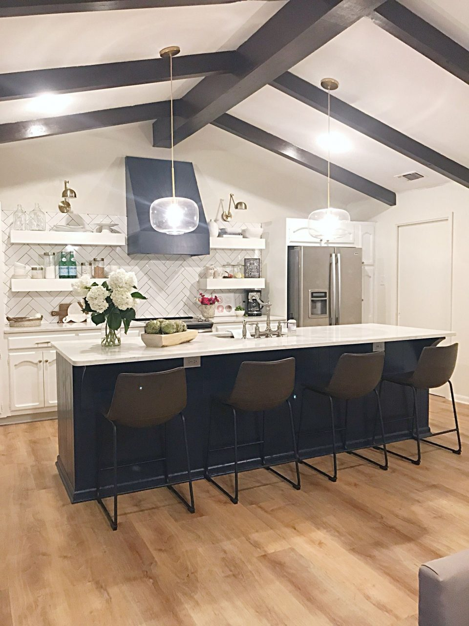 Navy Blue Vent Hood Navy Blue Kitchen Island White Cabinets Open