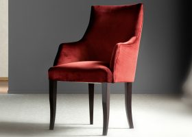 Red Leather Dining Chairs with Arms