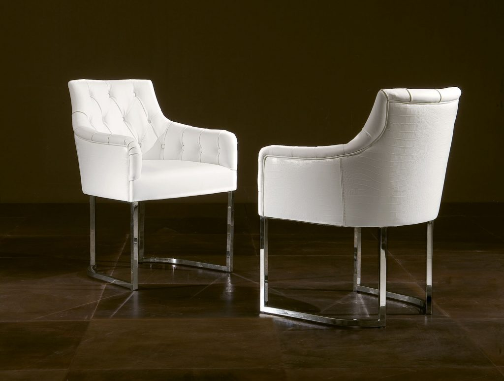 Nella Vetrina Rugiano Guendalina 5032 Dining Armchair White Leather
