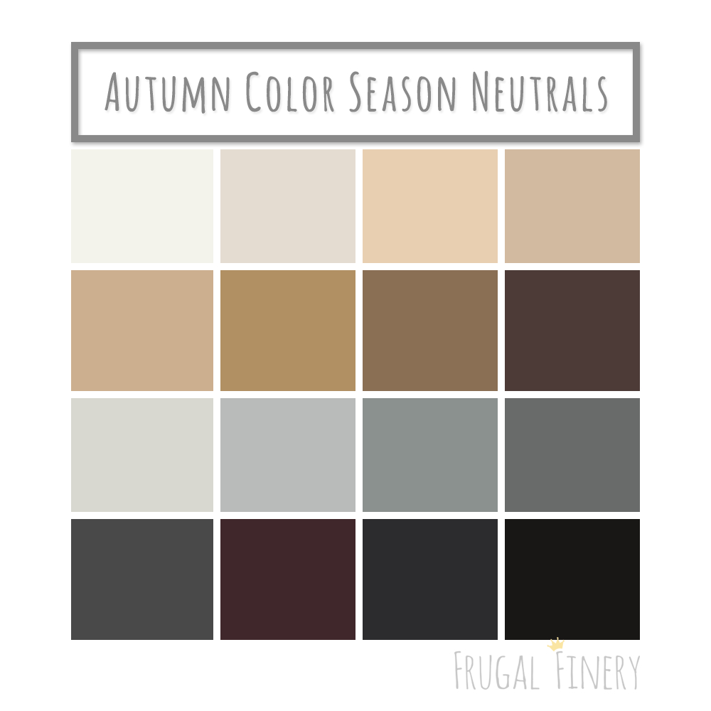 Neutral Colors For The Autumn Color Season Wardrobe Palette No Pure