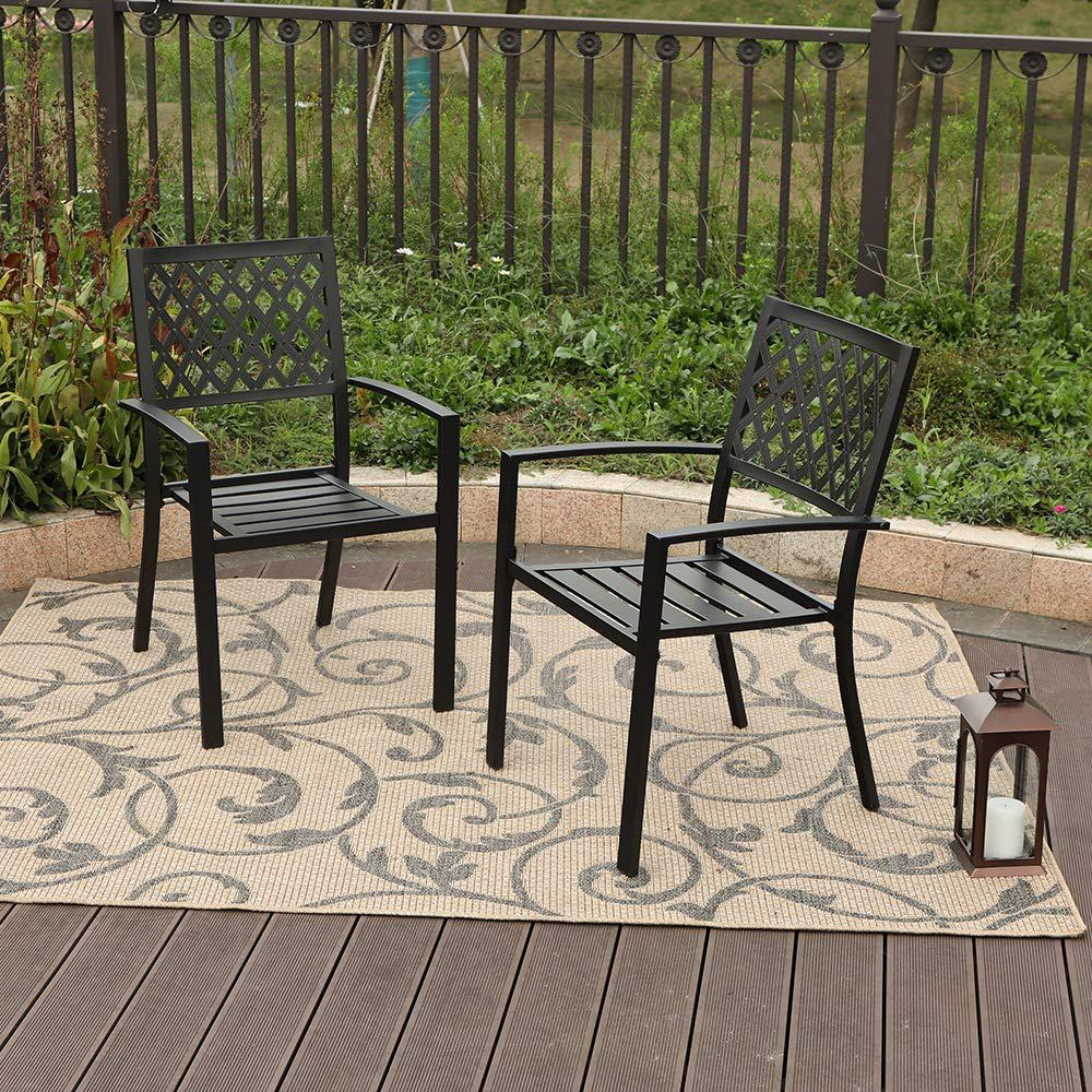 Nuu Garden Stacking Wrought Iron Outdoor Patio Dining Chair 2 Pack