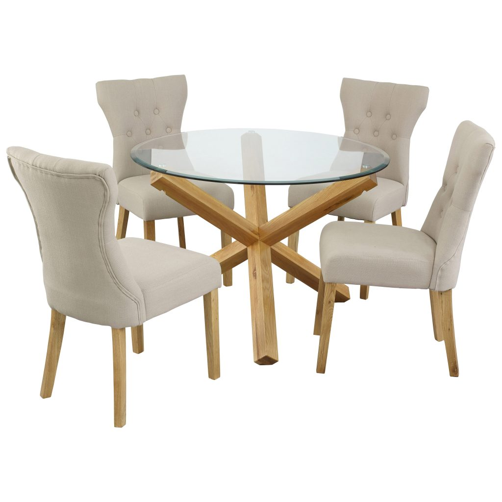 Oak Glass Round Dining Table And Chair Set With 4 Fabric Seats