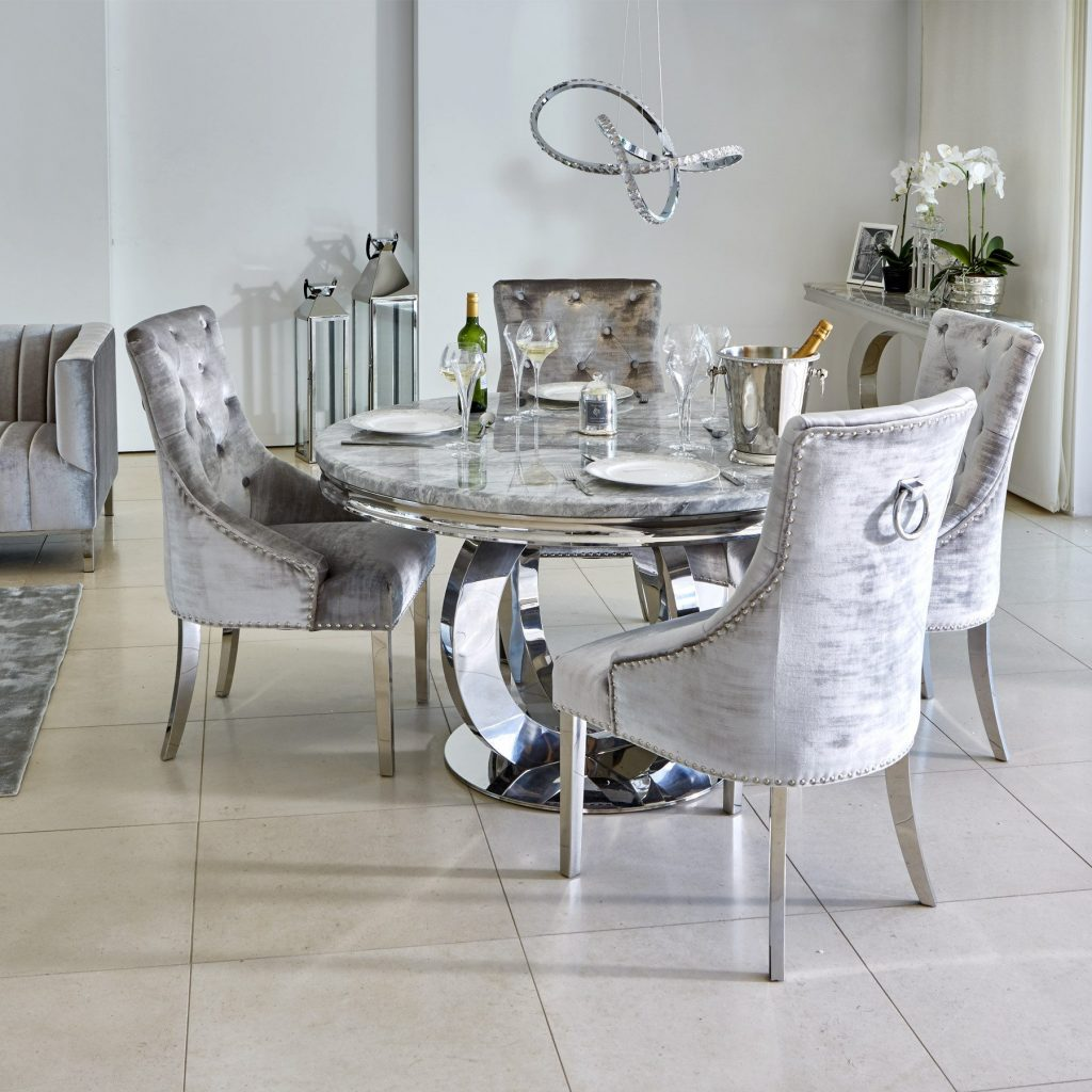 Oracle 130cm Round Grey Marble Dining Table 4 Parker Grey