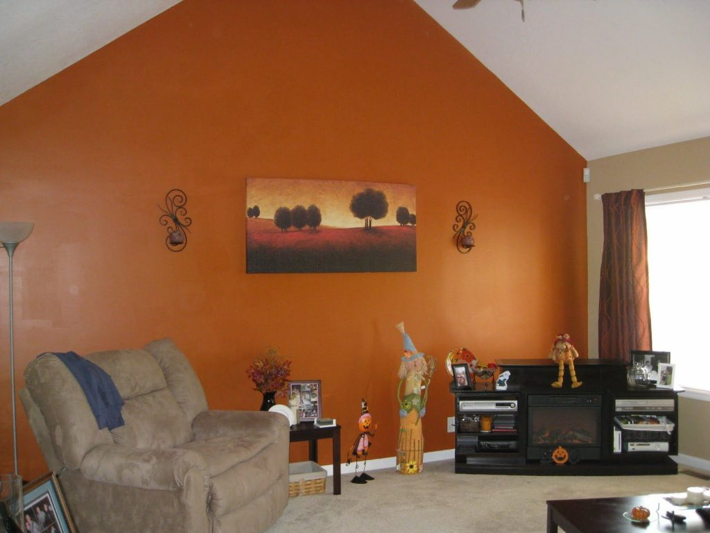 Orange Accent Wall Living Room Simple Home Decoration Kitchen