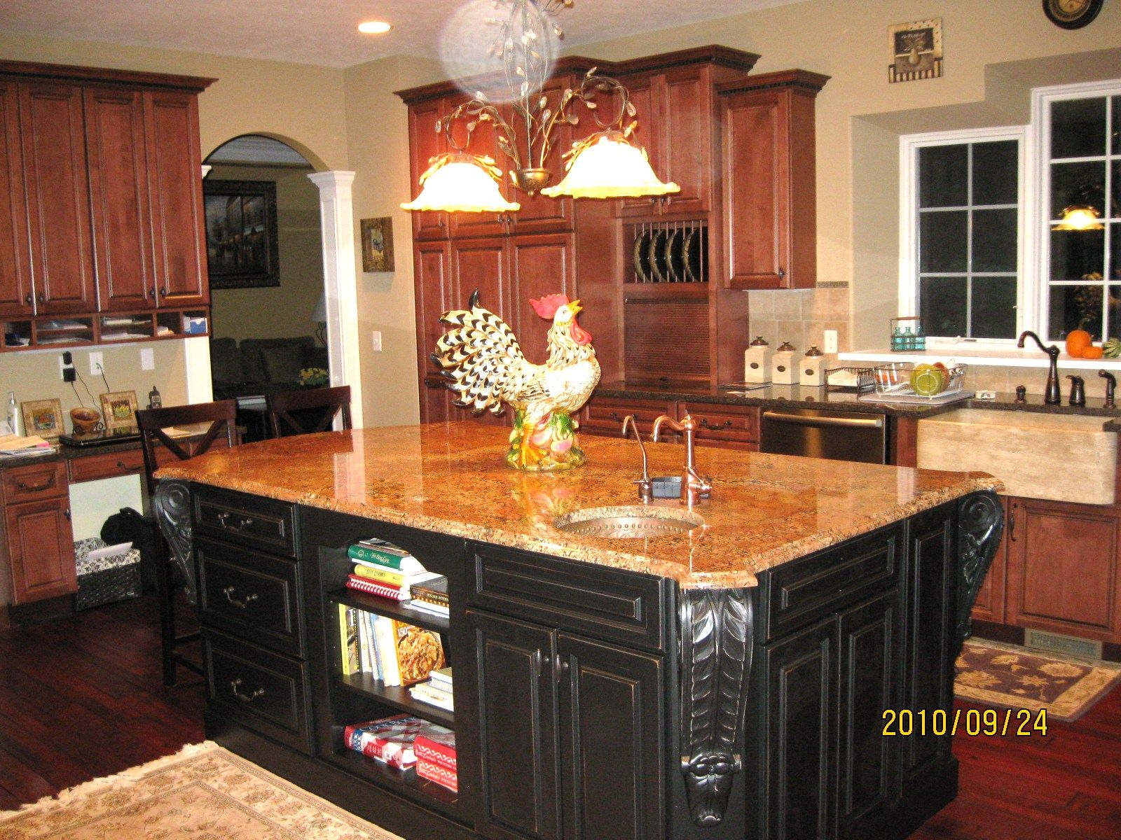 Our French Country Kitchen With Island Painted In Distressed Black Layjao