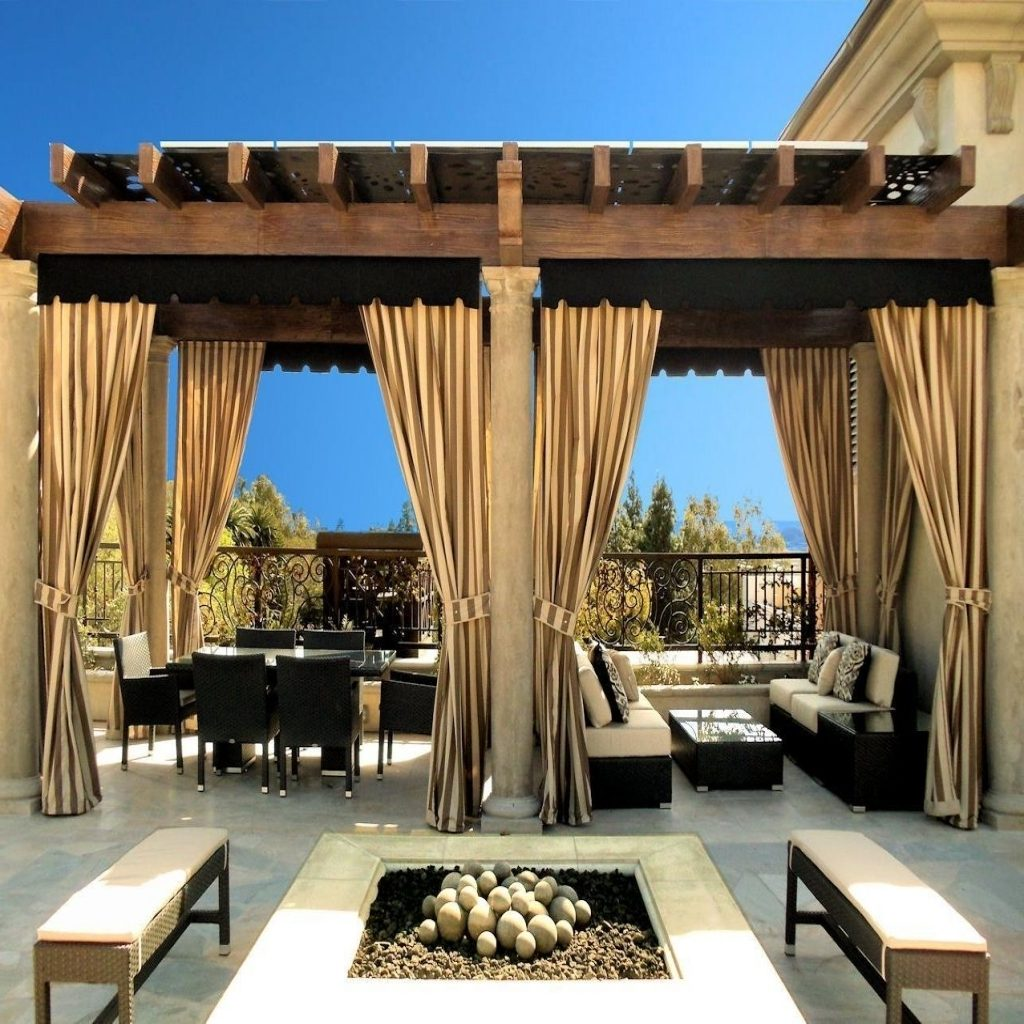 Outdoor Curtain Rods For Patio Home Romantic