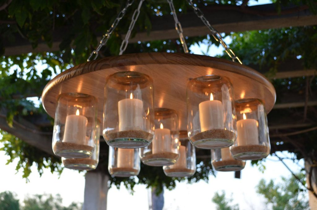 Outdoor Mason Jar Wedding Decorations Mason Jar Chandelier Wedding