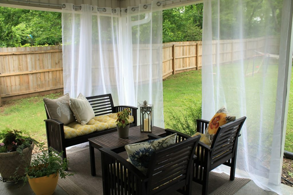 Outside Curtain Rods Curtains And Home Outdoor Lanai Curtains