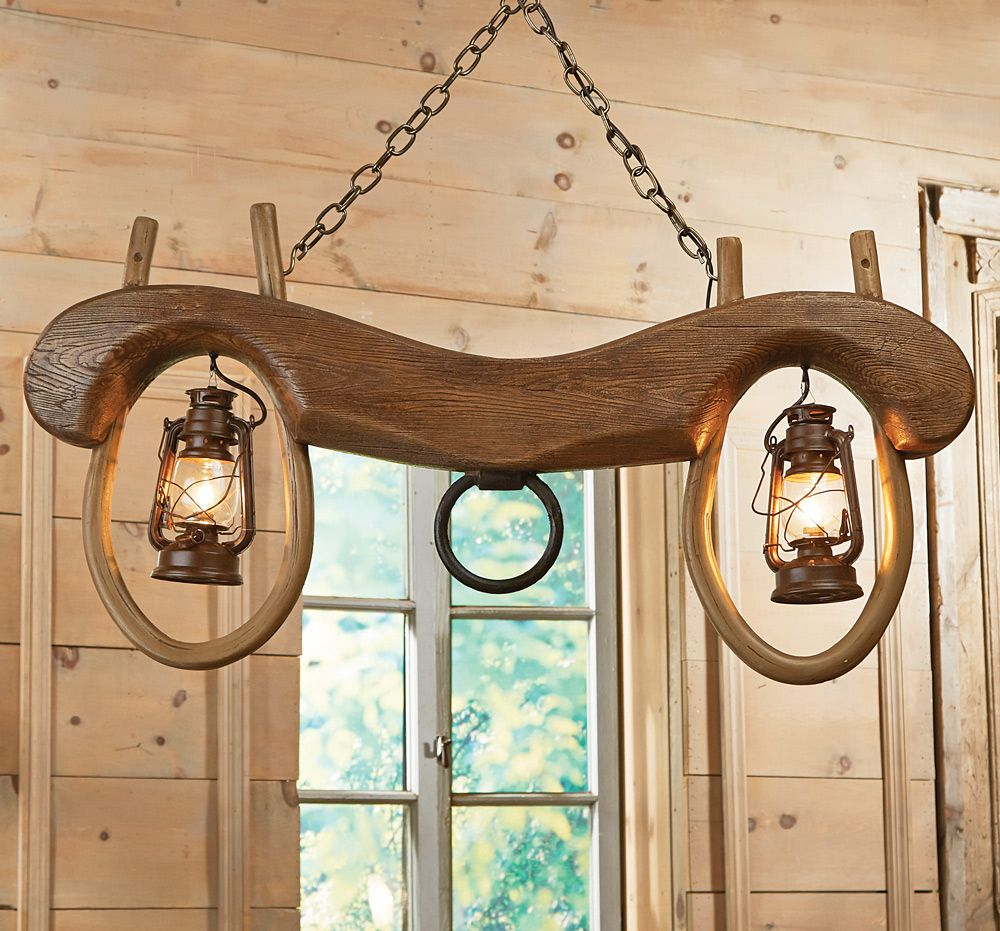 Ox Yoke Pendant Light With Lanterns