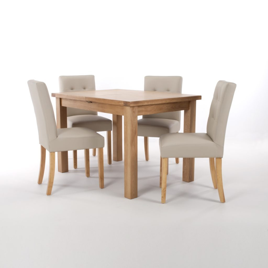 Ozzy Solid Oak L120 165cm Extending Dining Table 6 Ivory Leather Effect Stitched Back Chairs