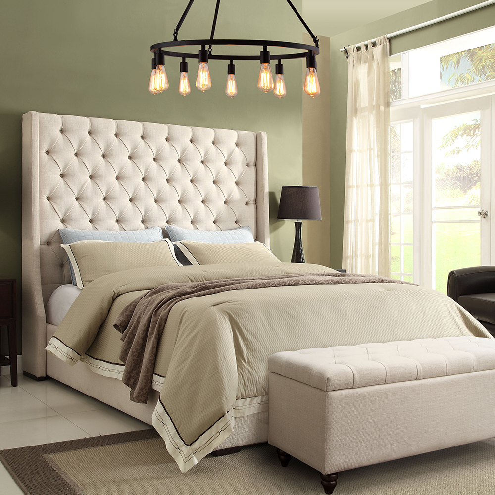 Park Avenue Queen Bed W Tall Diamond Tufted Headboard In Desert Sand Linen Diamond Sofa